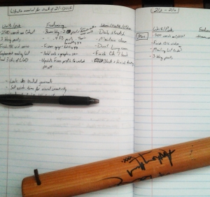 What my weekly plan looks like.  Don't mind the vampire slaying implement that's serving as a paperweight.