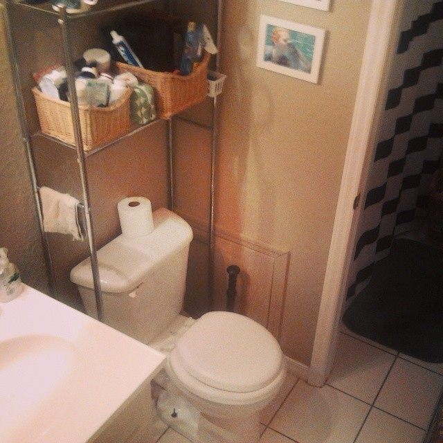 My clean-enough bathroom. Just don't look too closely at the floor.
